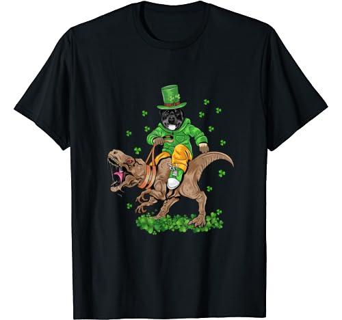St Patrick's Happy Pat Rex T Rex Dinosaur Funny Rottweiler T Shirt