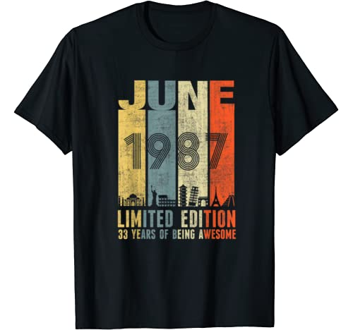 June 1987 Vintage Funny 33rd Birthday Gift T Shirt