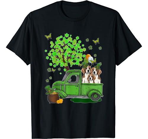 Cute Beagle Truck St Patrick's Day T Shirt