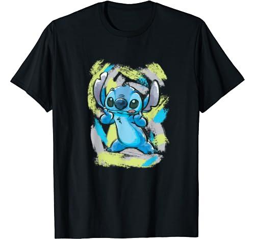 Disney Lilo And Stitch Watercolor Brushstrokes T Shirt
