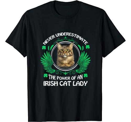Never Underestimate The Power Of An Irish Cat Lady T Shirt