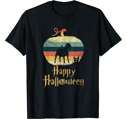 Boer Goat In Pumpkin Vintage Retro Happy Halloween T Shirt
