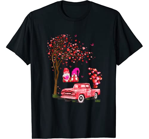 Tree Love With Couple Of Gnomes And Red Truck Valentine T Shirt