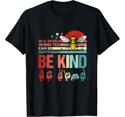 Vintage Be Kind Bee Puzzle Ribbon Autism Awareness T Shirt