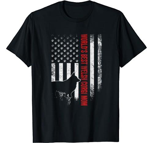 Vintage American Flag Worlds Best Welsh Corgi Mom Silhouette T Shirt