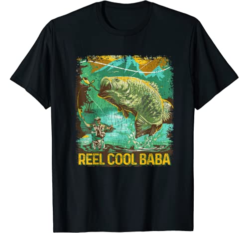 Mens Reel Cool Baba Shirt Fishing Lover Fathers Day Gift T Shirt