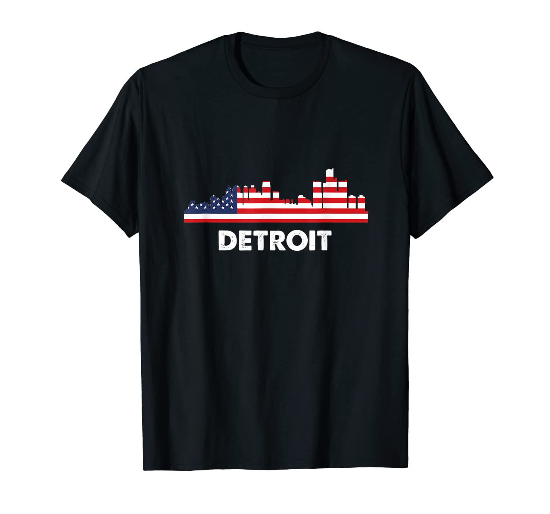 Detroit City American Flag Shirt 4th Of July Shirts