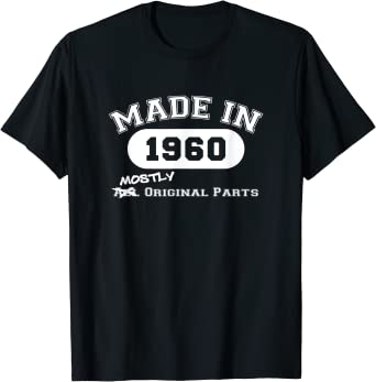 60th Birthday Mens T-Shirt Awesome 1960 Born In 1960 Age Related Birthday Gift