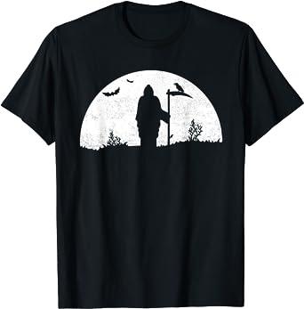 Death Grim Reaper Graphic T Shirt Distressed Vintage Look