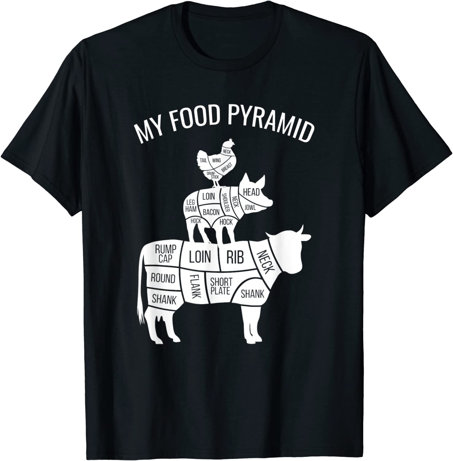 My Food Pyramid Funny Carnivore Cow Pig Chicken T-Shirt