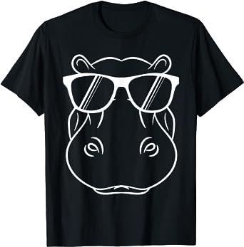 Hippopotame - Hippo cool et mignon avec lunettes de soleil T-Shirt