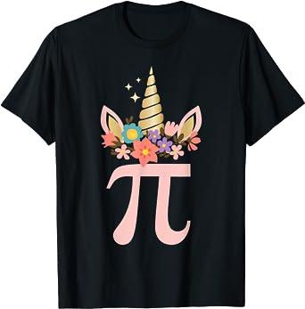 Cute Unicorn Face Pi Day Shirt Girls Women Math Geek T-Shirt