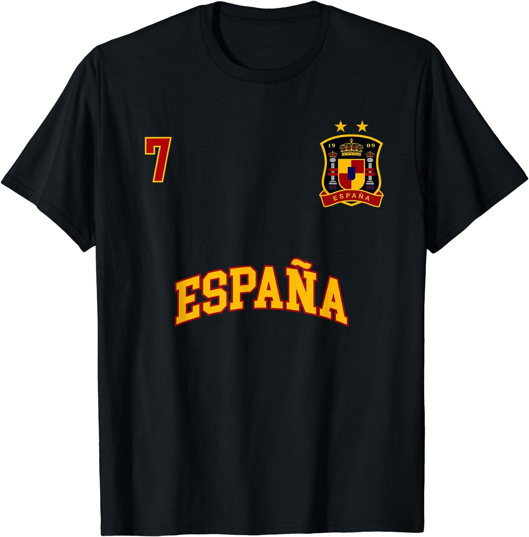Spain Shirt Number 7 Soccer Team Spanish Flag Futbol Espana