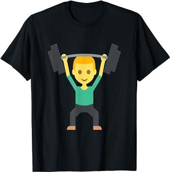 Emoji Levantamiento De Pesas Con Barra Pesas Fuerza Camiseta ...