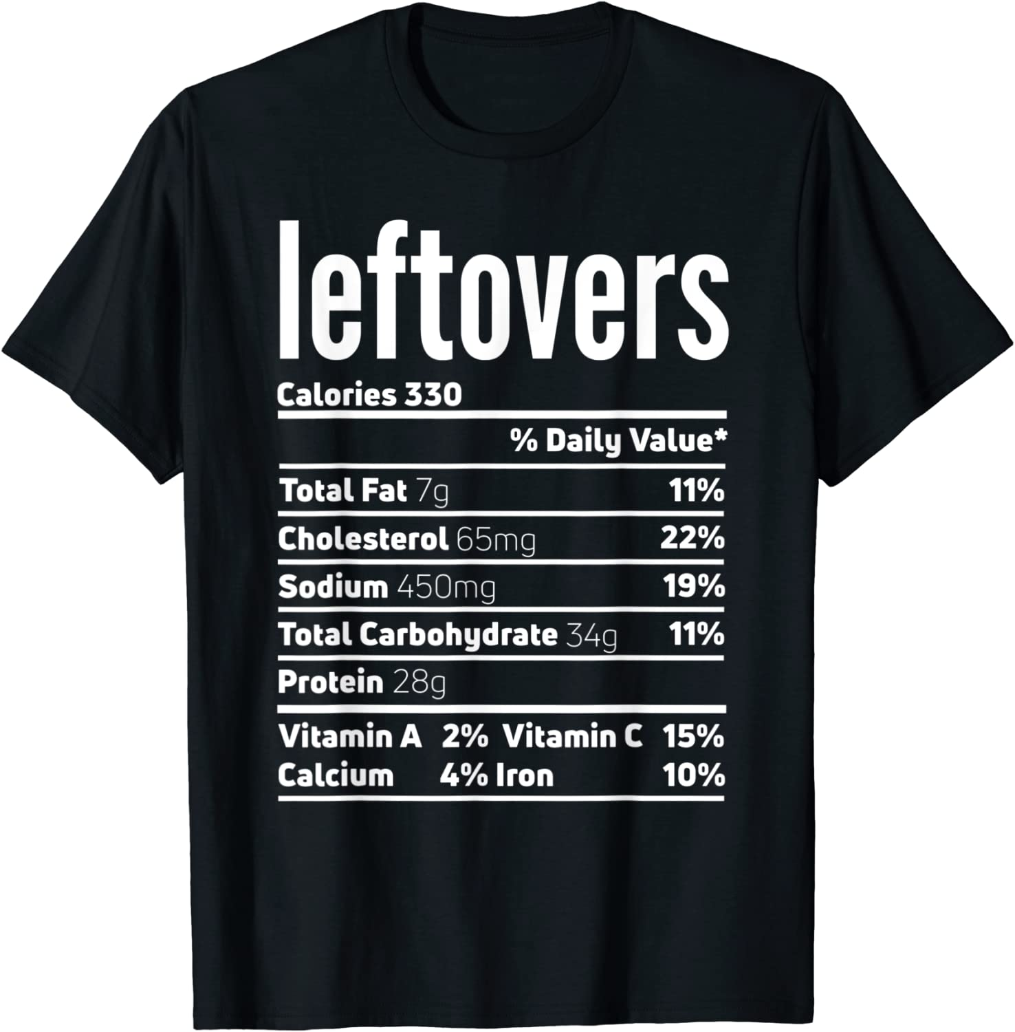Leftovers Nutrition Facts Shirt Funny Thanksgiving Food T-Shirt