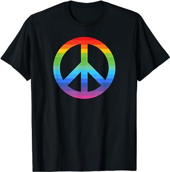 Rainbow LGBTQ Gay Hippy Hippie Camiseta : Amazon.es: Ropa