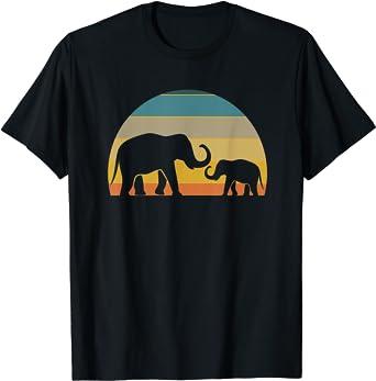 Elephant Family 70s Style Retro Sunset Silhouette Gift T-Shirt