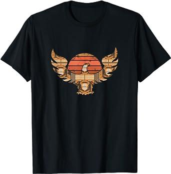 Coucher de soleil à motif géométrique de faucon T-Shirt