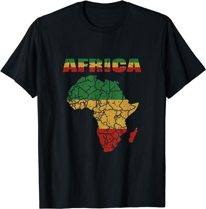 Camisa del continente africano Bandera del reggae Camiseta ...