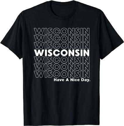 Wisconsin Grocery Bag Thank You Funny State Gift Camiseta Manga Raglan
