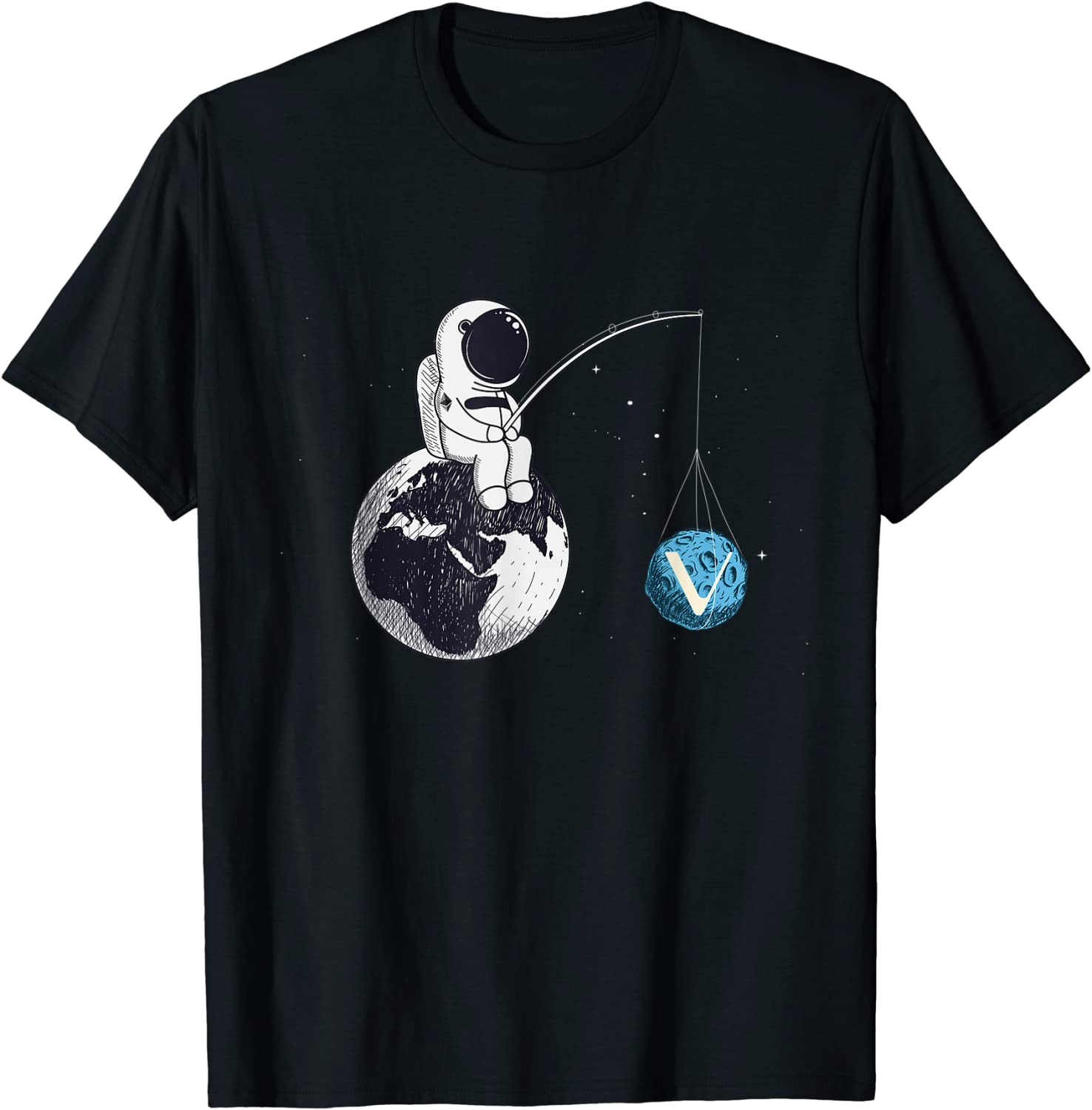 Cryptocurrency Talk - Vechain To The Moon Space Man Merch T-Shirt