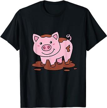 Cochon Rose Tee Shirt Enfant Homme Femme Fille Porcelet T-Shirt
