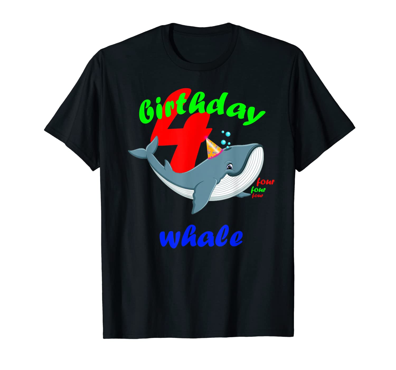 4 Birthday & Killer Whale as Party Costume for Orcas T-Shirt-ANZ