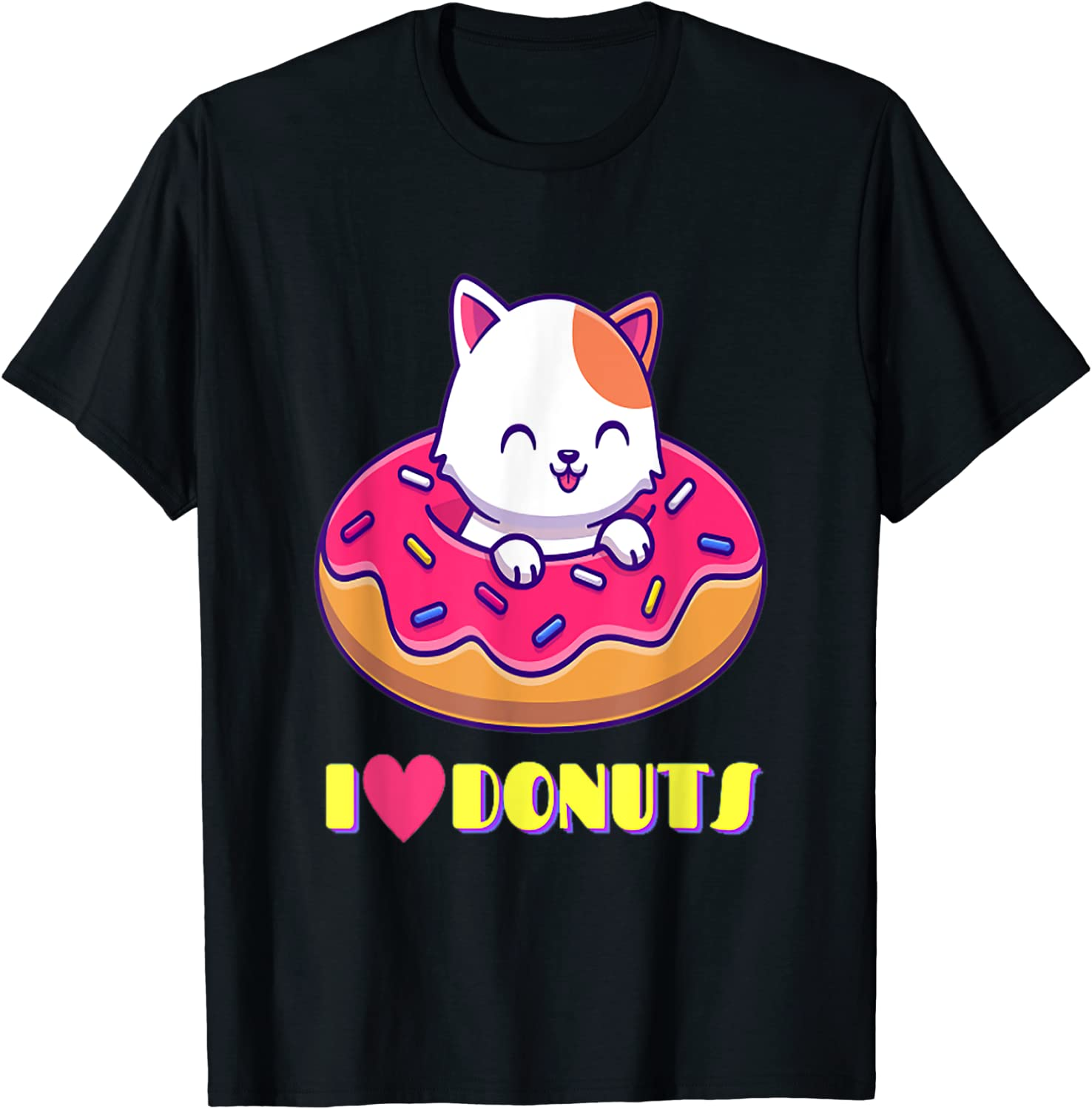 Cute Cuddly Kitty I Love Donuts Food - Cat Lovers For Girls T-Shirt