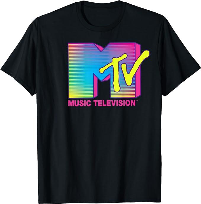 80s Tops, Shirts, T-shirts, Blouse   90s T-shirts MTV Logo Fluorescent Colors Graphic T-Shirt  AT vintagedancer.com