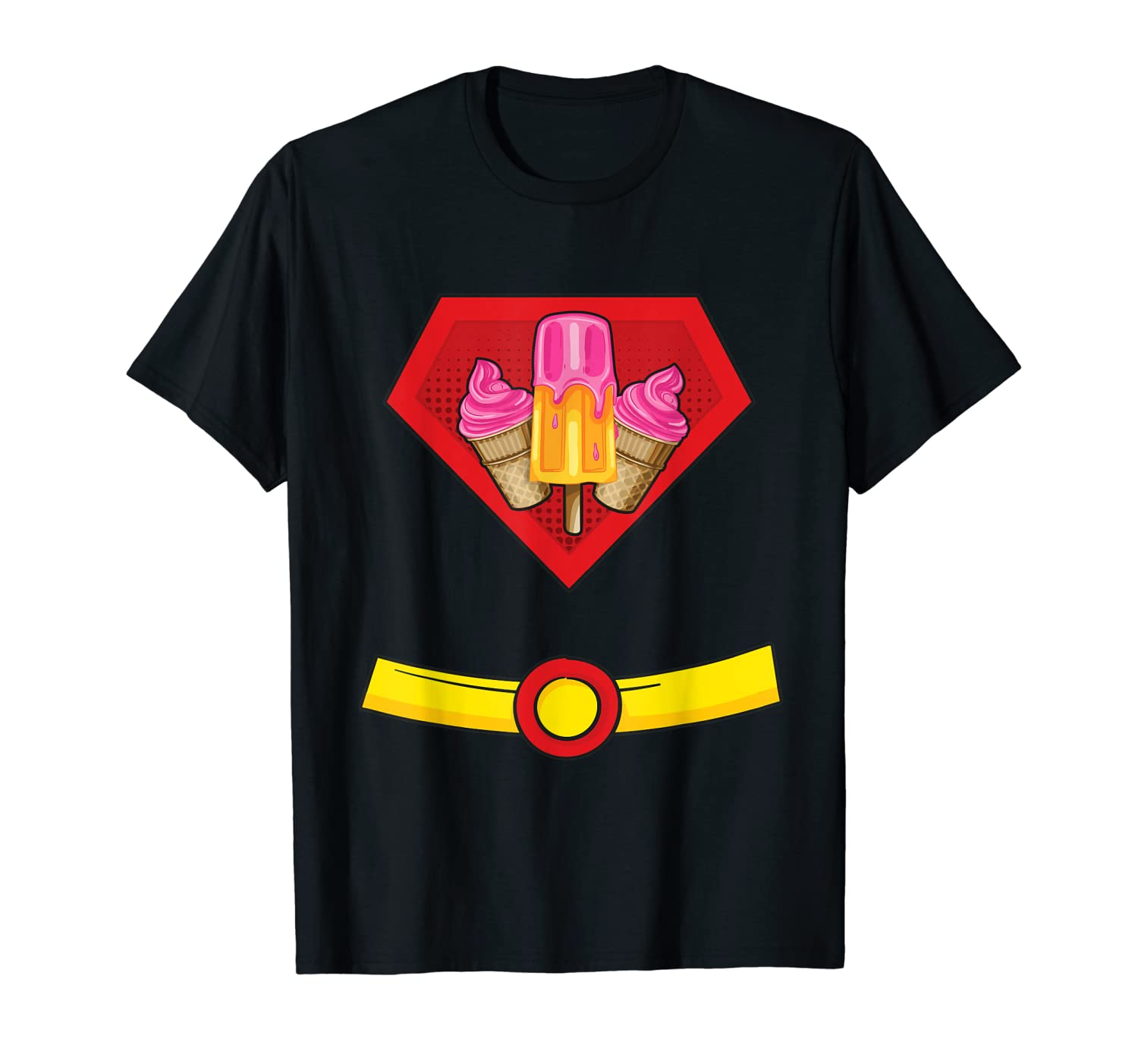 Ice Cream Man Superhero Halloween Costume T-Shirt