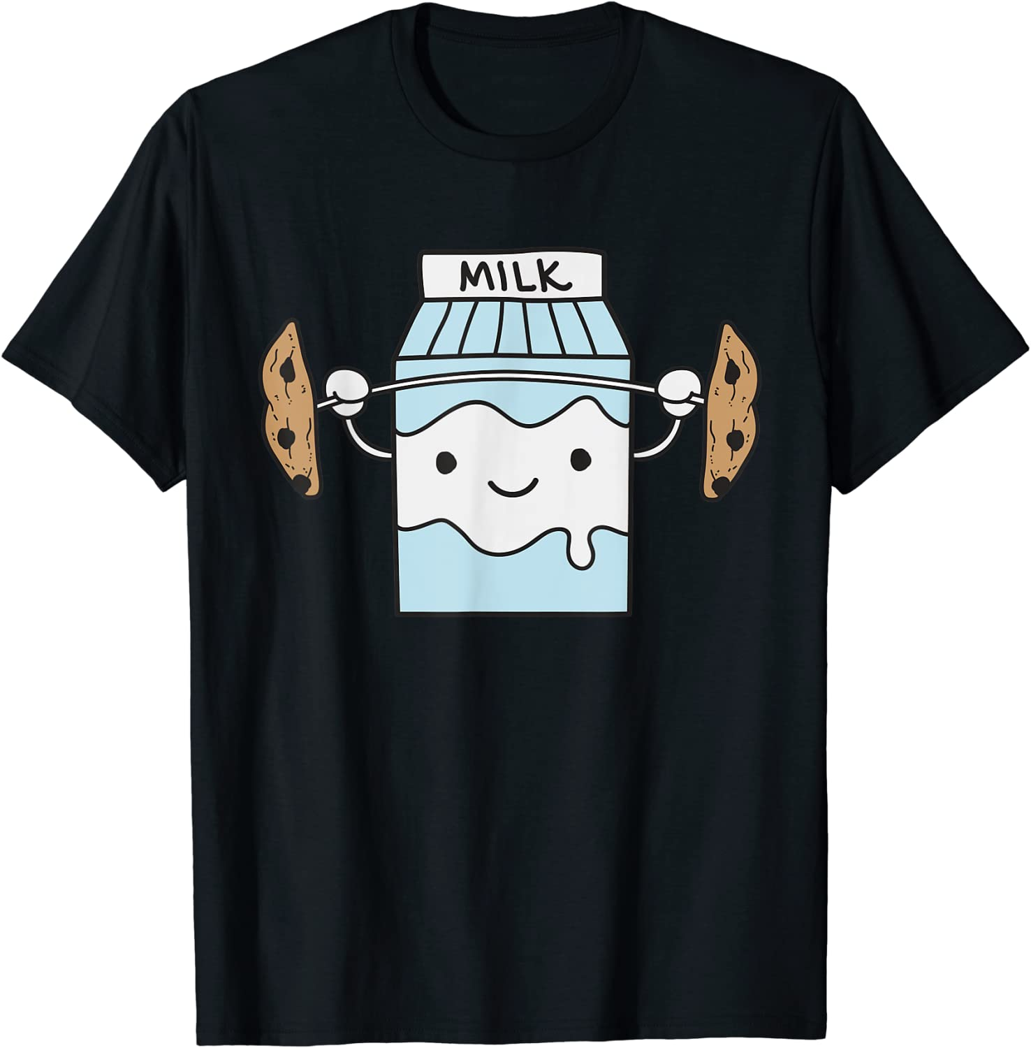 Milk Lifting Cookies Funny Food Snatch Squat Barbell Gym T-Shirt
