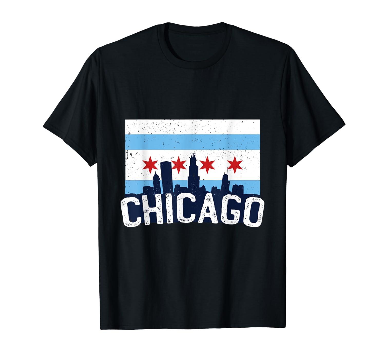 Chicago Flag Skyline Shirt Chi Town Pride City Flag Gift T Shirt