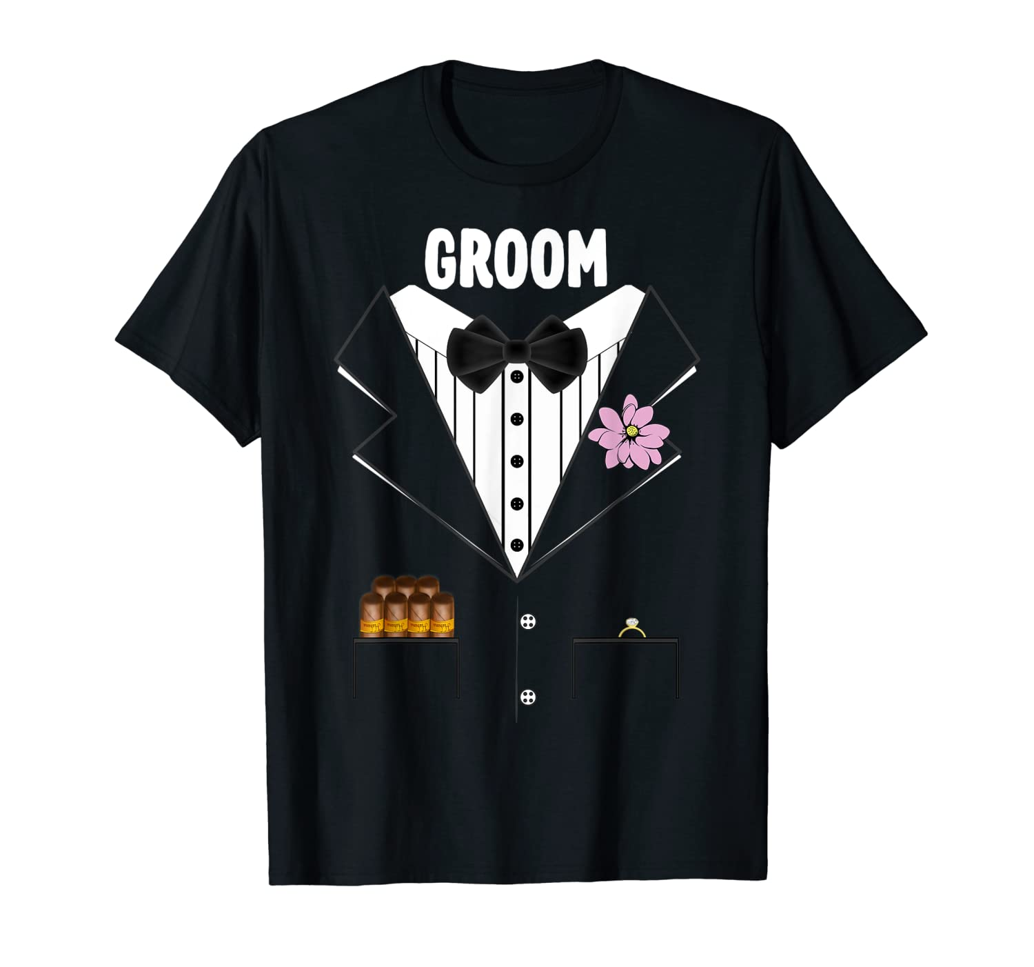 Mens Groom Tuxedo T-shirt Wedding Rehearsal Bachelor Party Group