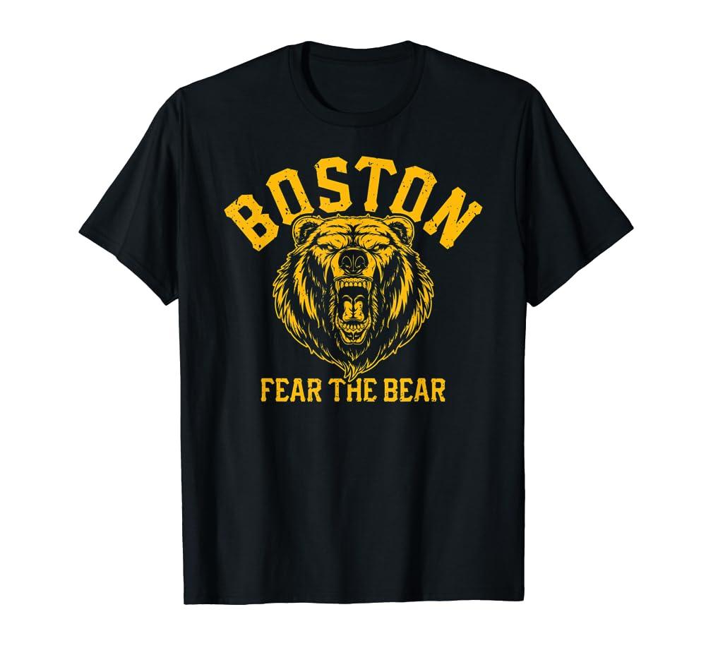 Fear The Bear Hockey Beware of Boston Sports Fan Bruin Gift T-Shirt Unisex Tshirt