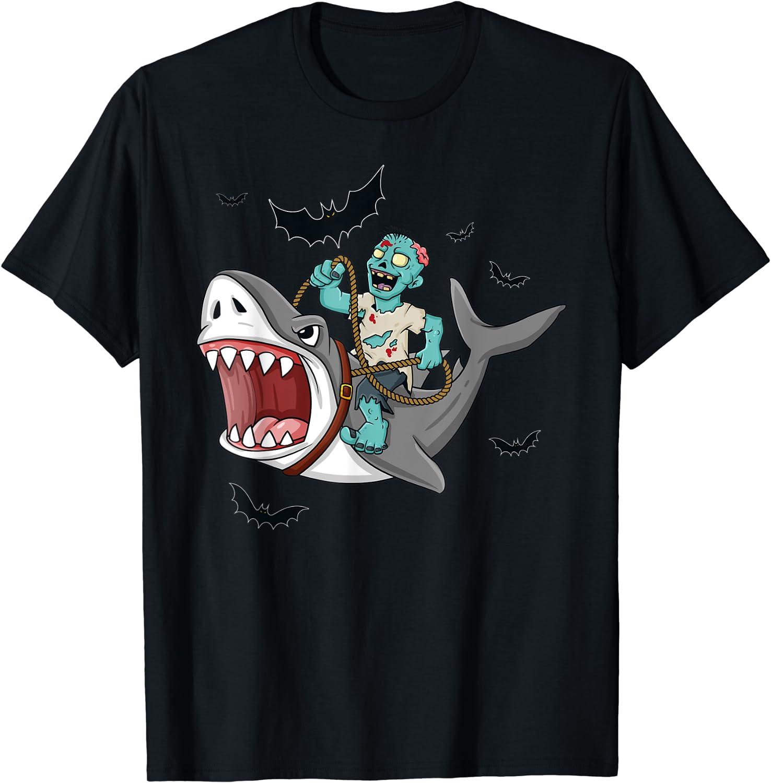Halloween Zombie Riding Shark Funny Mail order Girls Boys Popular overseas Kids T-Shirt