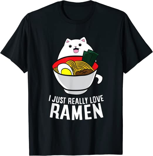 Cat I Just Really Love Ramen Tshirt Men Navy M 3XL