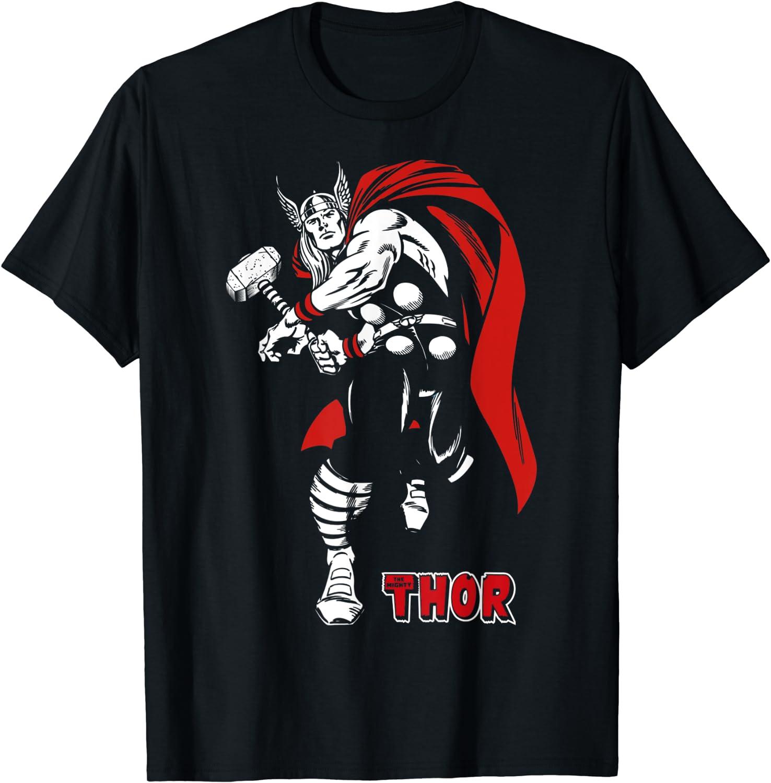 Marvel Thor Retro Hammer Swing Tonal Portrait T-Shirt