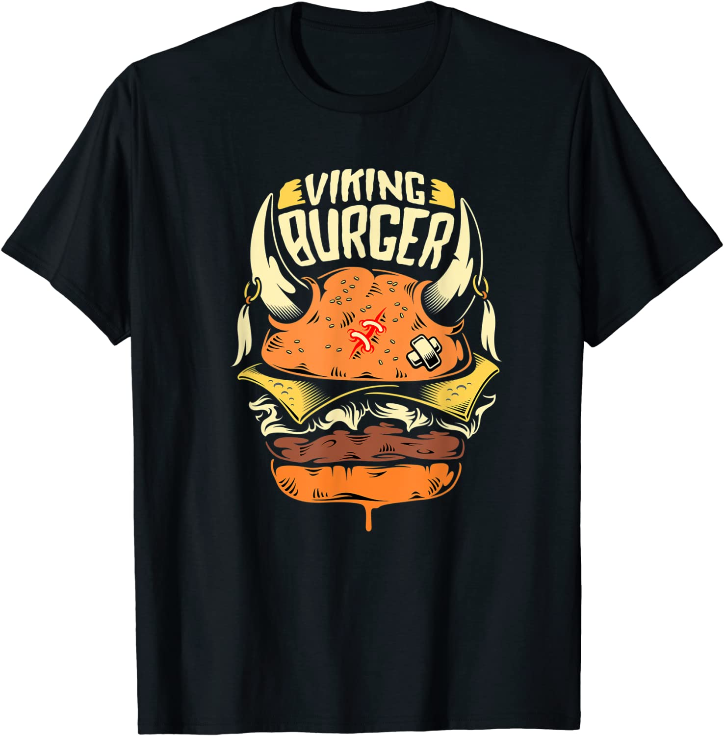 Tee Viking Burger Nordic Food Junk Warrior Fries Blood Retro T-Shirt