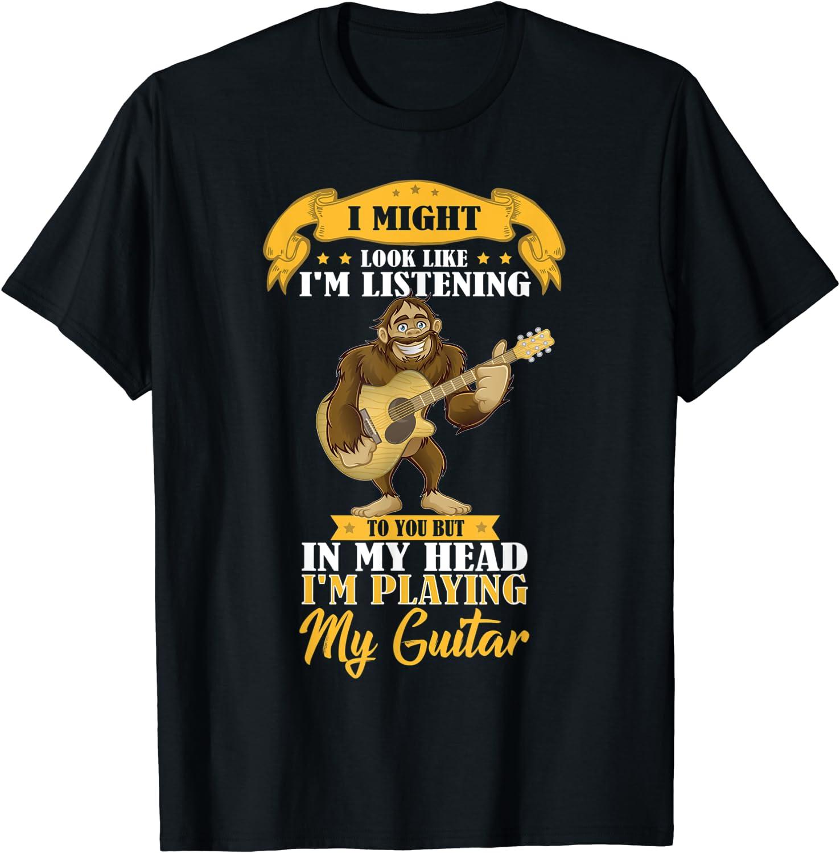 Bigfoot Playing Acoustic Guitar Max San Francisco Mall 77% OFF Musical Fans Animal T-Shirt Band