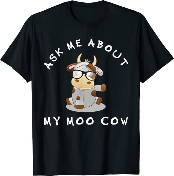 Ask Me About My Moo Cow T Shirt Funny Animal Printing Kids Boys Shirt Tee Tops