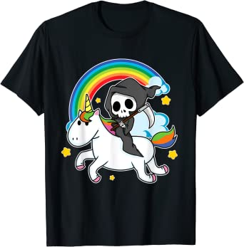 Halloween Unicorn Costume Grim Reaper Riding Unicorn T-Shirt
