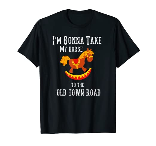 193ab4a3a8e0c Amazon.com: Funny Old Town Road Rocking Horse Riding Kids T-Shirt ...
