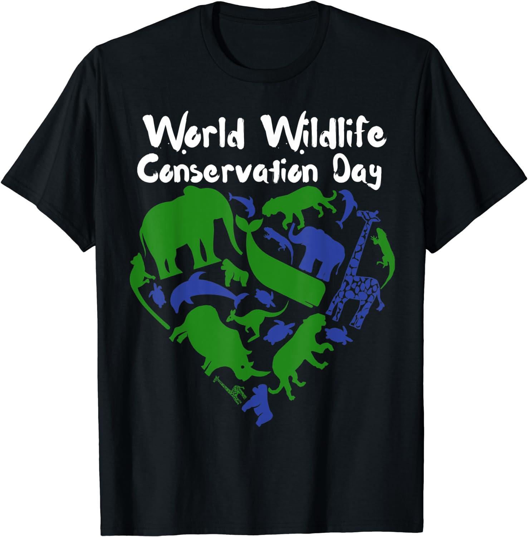 World Wildlife Conservation Day Animal Kingdom Heart T-Shirt