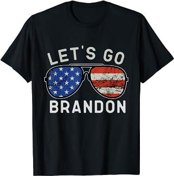 Let's Go Brandon American Flag Sunglasses T-Shirt
