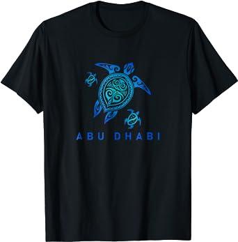 Abu Dhabi T-Shirt Sea Blue Tribal Turtle