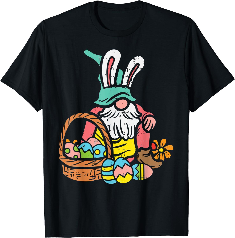 Nordic Garden Gnome Bunny Easter Eggs Basket Tomte Nisse T-Shirt