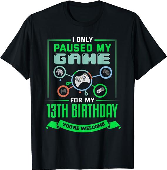 13th Birthday Gamer T-Shirt Online Gamer Gift For Geek Boys Tshirt