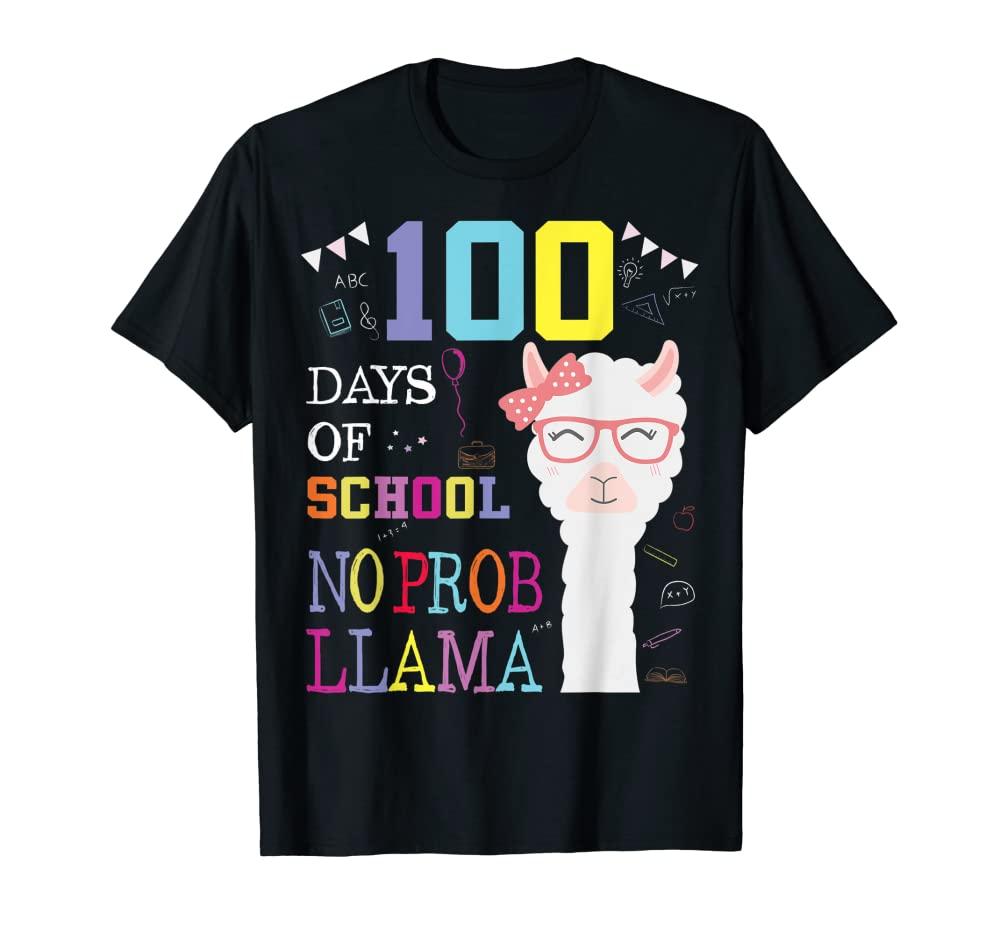 100 Days of School Shirt No Probllama Llama 100th day tshirt T-Shirt Unisex Tshirt