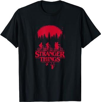Stranger Things Group Shot Bike Ride Upside Down Silhouette T-Shirt