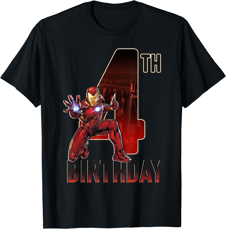 Marvel Iron Man 4th Birthday Action Pose Graphic T-Shirt